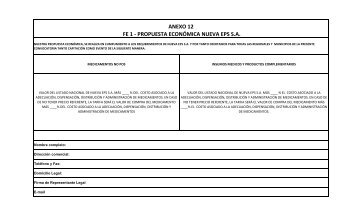 FE 1 - PROPUESTA ECONÓMICA NUEVA EPS S.A. ANEXO 12