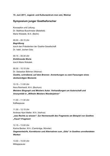 Symposium junger Goetheforscher - Goethe Gesellschaft Weimar e.V.