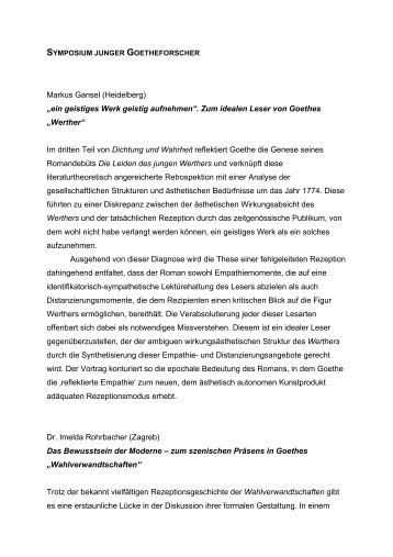Abstracts - Symposium junger Goetheforscher - Goethe Gesellschaft ...