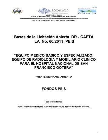 Bases de la Licitación Abierta DR - CAFTA LA No. 60/2011_PEIS