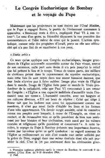 Le Congrès Eucharistique de Bombay et le voyage du Pape