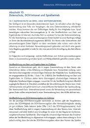 Abschnitt 10. Datenschutz, DGV-Intranet und Spielbetrieb - Golf.de