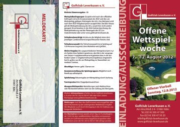 Offene Wettspiel- woche - Golfclub Leverkusen eV