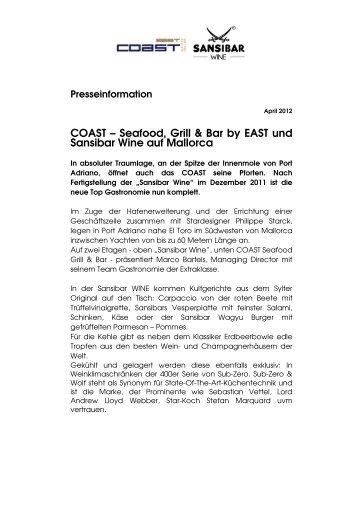 COAST – Seafood, Grill & Bar by EAST und ... - EAST Hotel Hamburg