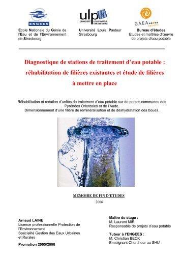 Diagnostique de stations de traitement d'eau potable : réhabilitation ...