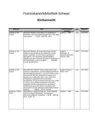 Franziskanerbibliothek Schwaz - Franziskaner in Schwaz