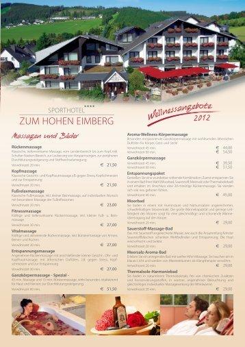 Wellnessangebote & Preise (pdf) - Sporthotel**** Zum hohen Eimberg