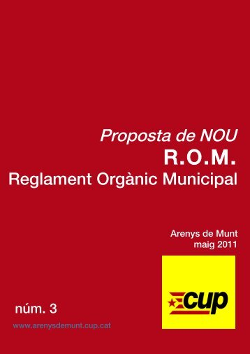 REGLAMENT ORGANIC MUNICIPAL - CUP d'Arenys de Munt