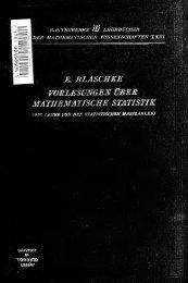 Vorlesungen über mathematische Statistik; Die Lehre von den ...