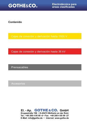 Electrotécnica para areas clasificadas -  Gothe & Co.