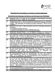 Checkliste für Veranstalter von Festen und Veranstaltungen