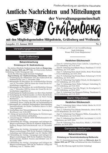 Ausgabe: 13. Januar 2010 Nr. 2 - Gräfenberg