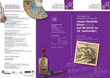 Johann Wendelin Glaser (1713-1783) (Programm) (pdf)