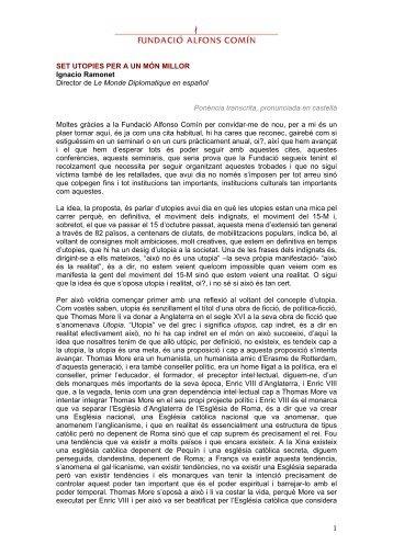 set utopies per a un món millor - Fundació Alfons Comín