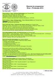 Résumé du programme Hiver - Printemps 2012 - Le Grain de Vie