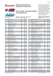 Verkaufs-Preisliste zum Neuheiten Prospekt 2011 Flug ... - Graupner