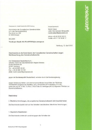 offizielle Beschwerde - Greenpeace-Gruppe München