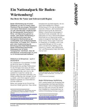Ein Nationalpark für Baden- Württemberg!