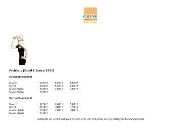 Preisliste (Stand 1. Januar 2011)
