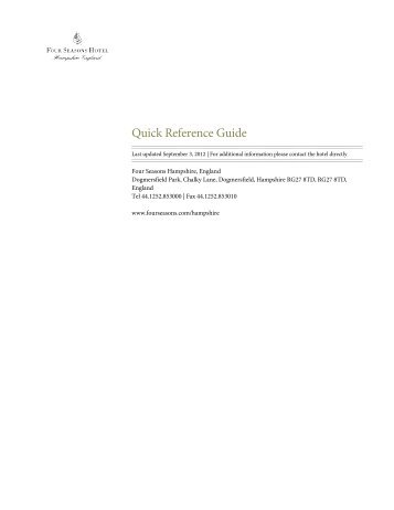 View Quick Reference Guide [PDF] - Four Seasons Hotels and Resort