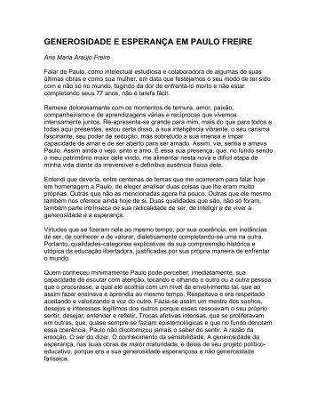 generosidade e esperança em paulo freire - Centro Paulo Freire ...