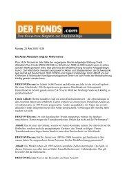 DER FONDS.com: Im Schnitt 14,04 Prozent nach Kosten pro Jahr ist ...