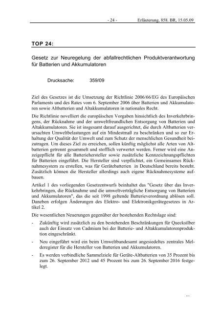 TOP 24: Gesetz zur Neuregelung der ... - GRS-Batterien