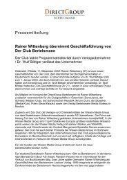 Rainer Wittenberg übernimmt Geschäftsführung ... - Bertelsmann AG