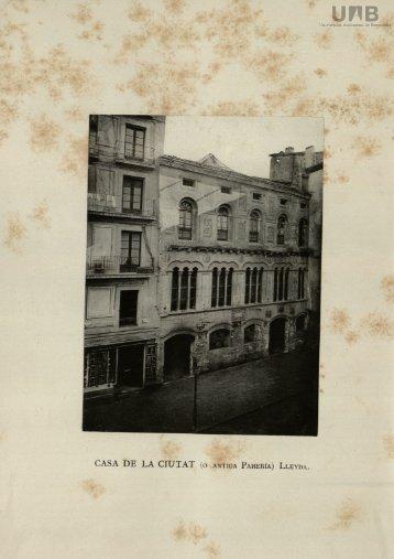 CASA DE LA CIUTAT (ó ANTIGA PAHERÍA) LLEYDA.