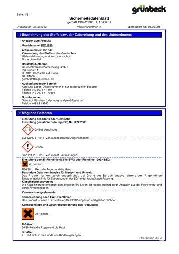 SDB KW 1830 DE - Grünbeck Wasseraufbereitung GmbH