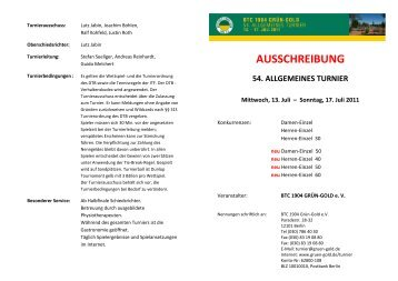 ausschreibung 54. allgemeines turnier - Berliner Tennis-Club 1904 ...