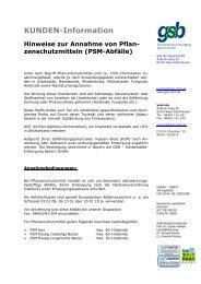 Pflanzenschutzmittel - gsb Sonderabfall-Entsorgung Bayern GmbH
