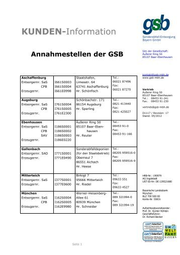 kunden - gsb Sonderabfall-Entsorgung Bayern GmbH
