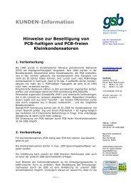 PCB haltige Kondensatoren