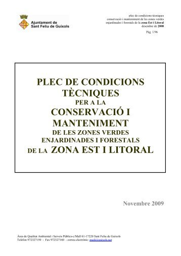 Plec Tècnic Jardineria definitiu - Ajuntament de Sant Feliu de Guíxols