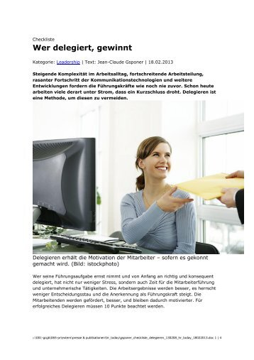 Wer delegiert, gewinnt - Gsponer Consulting Group