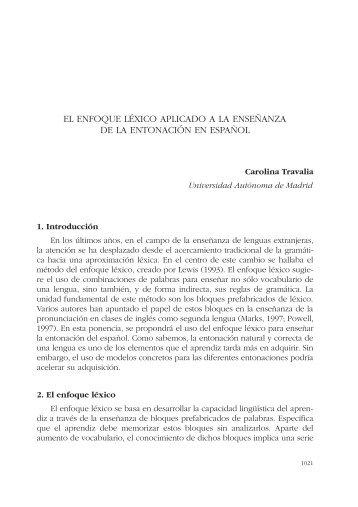 el enfoque léxico aplicado a la enseñanza de la entonación en ...