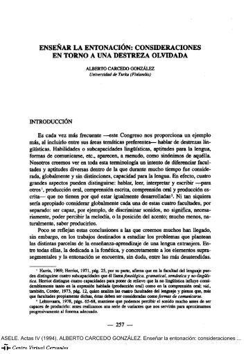 Enseñar la entonación - Centro Virtual Cervantes