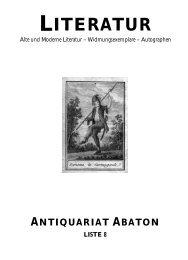 LITERATUR - Abaton Antiquariat