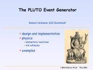 The PLUTO event generator - GSI
