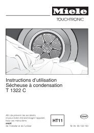 Instructions d'utilisation Sécheuse à condensation T 1322 C - Miele