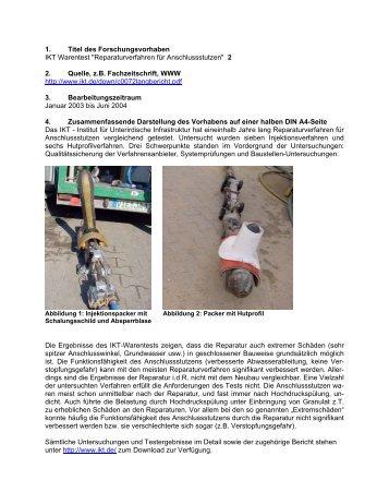Reparaturverfahren für Anschlussstutzen - GSTT