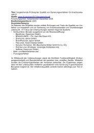Vergleichende Prüfung der Qualität von Sanierungsverfahren für ...