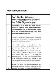 Curt Becker neuer AR-Vorsitzender - gsw sigmaringen
