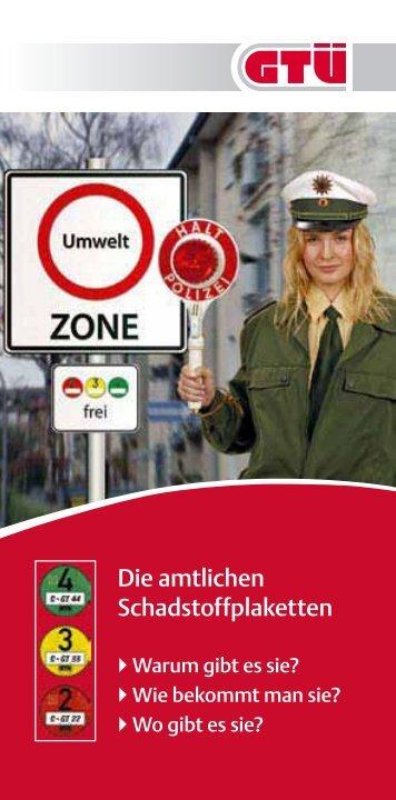 Flyer zur Schadstoffplakette (pdf, 124.8 kB) - GTÜ