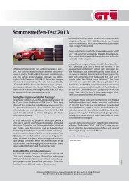 Info-Blatt zum Sommerreifentest 2013 - GTÜ