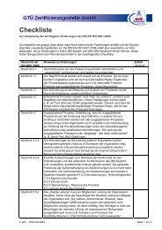 Checkliste zur Umstellung der wichtigsten Änderungen der DIN - GTÜ