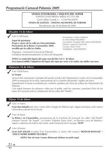 Programació Carnaval Palamós 2009 - Turisme Baix Empordà i ...