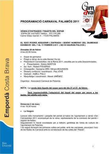 programació carnaval palamós 2008 - Turisme Baix Empordà i ...