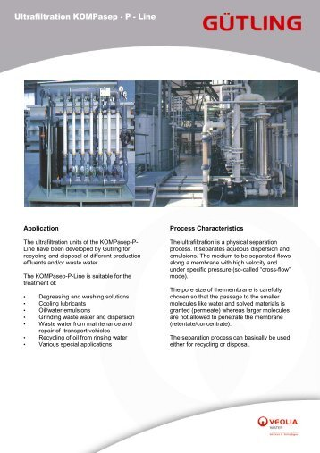 Ultrafiltration KOMPasep - P - Line - Gütling Wassertechnologie GmbH